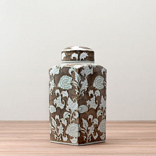Brown and White Floral Decorative Jar