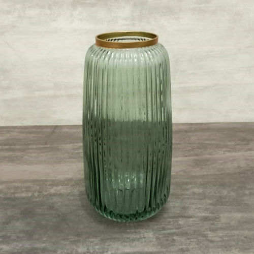 Green  and Gold Glass Vase