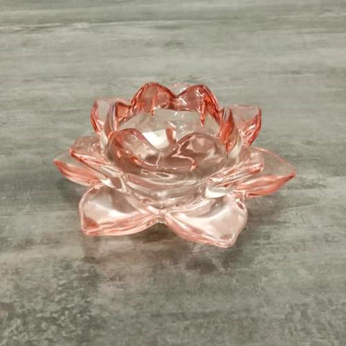 Set of 2 Peach Lotus T-Light Holder