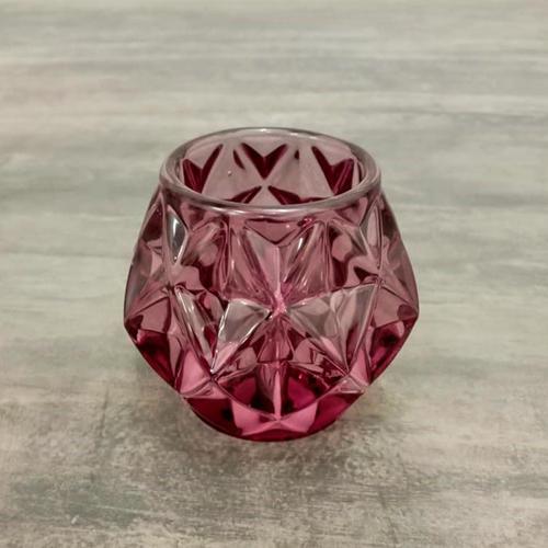 Set of 2 Rose Pink Glass T-Light Holder