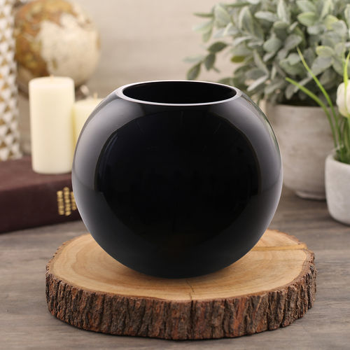 Small Black Elite Spherical Vase