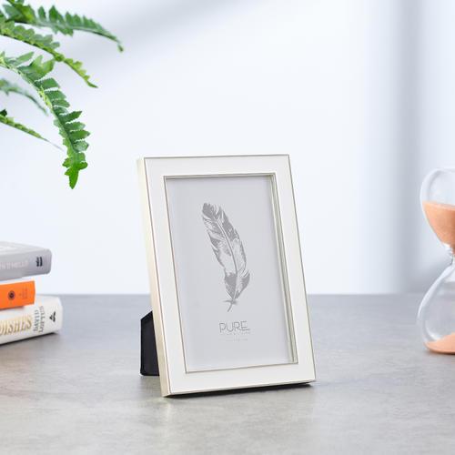 Small White Enamelled   Silver Photo Frame