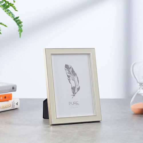 Large Beige Enamelled   Silver Photo Frame