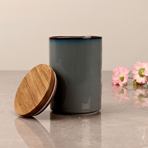 Small Dark Grey Ceramic Storage Jar