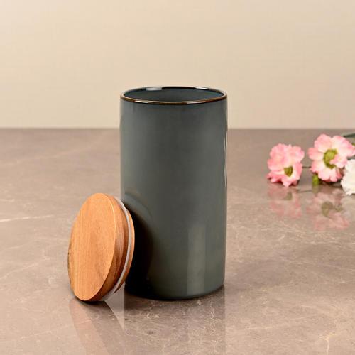 Large Dark Grey Ceramic Storage Jar