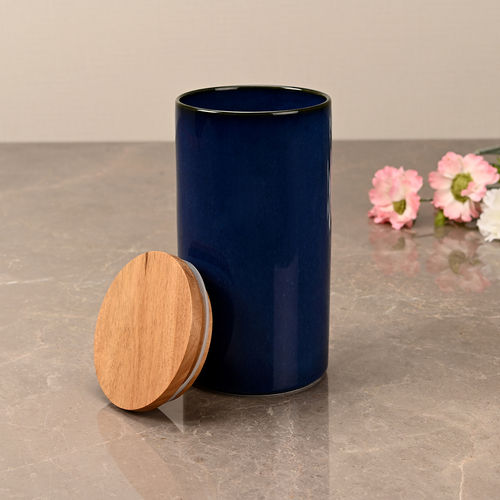 Large Prussian Blue Ceramic Storage Jar