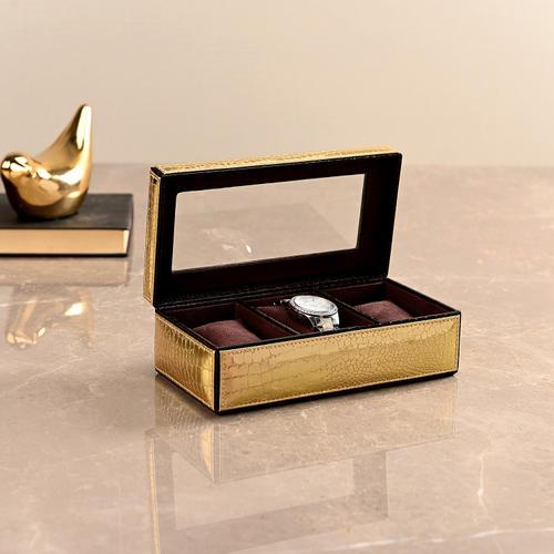 3 Box Golden & Brown Croco Watch Organiser