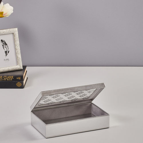 Small Silver Floral Motif Storage Box