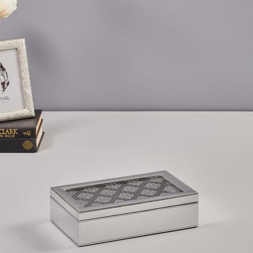 Large Silver Floral Motif Storage Box
