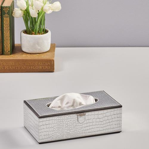 Silver Croco Tissue Box