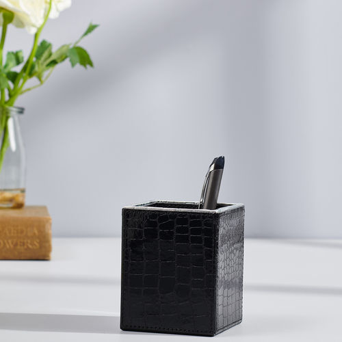 Black and Silver Croco Pen Cup Holder