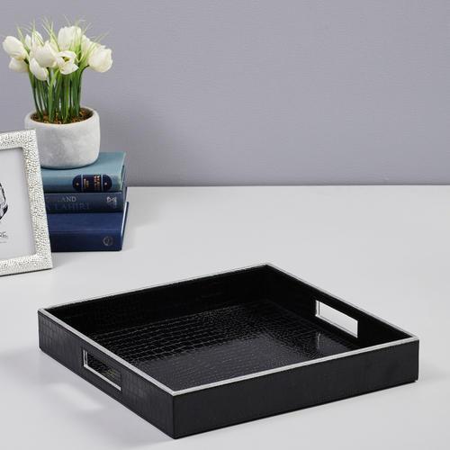 Square Black and Silver Croco Serving Tray