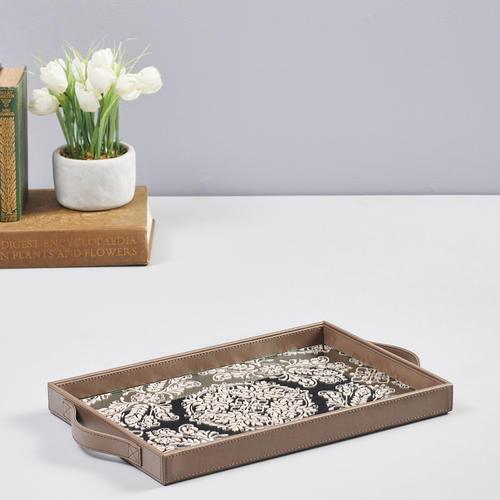 Silver and Cream Mirror Printing Rectangular Tray