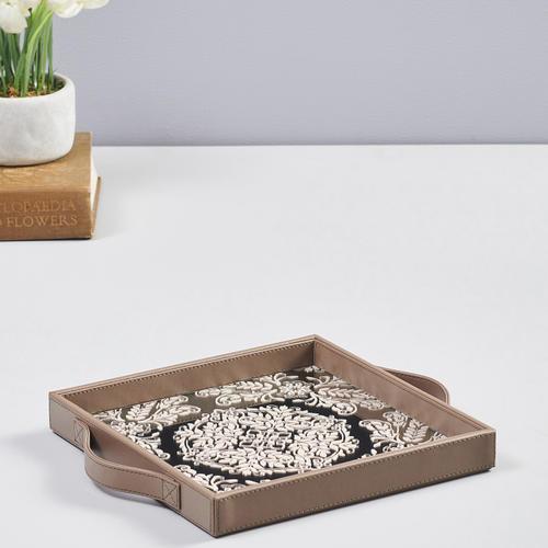 Silver and Cream Mirror Printing Square Tray