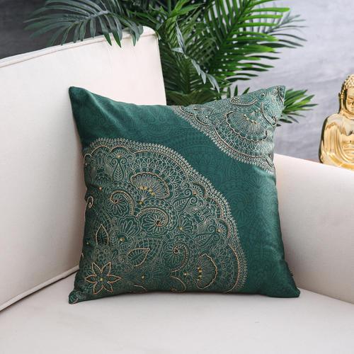 Green Bliss Foil Printed Cushion Cover