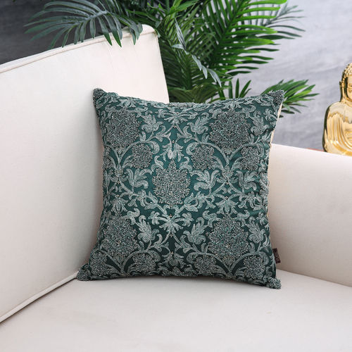 Green Sequined Cushion Cover