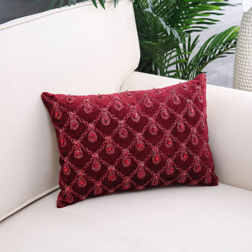 Damyanti Red Sequined Cushion Cover