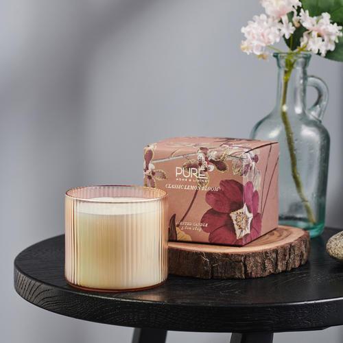 Large Pink Classic Lemon Bloom Jar Candle