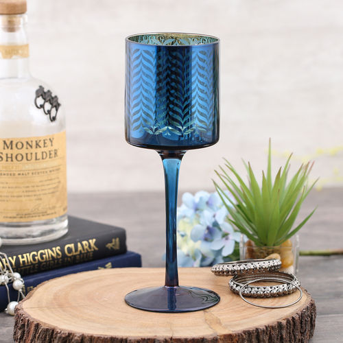 Blue and Gold Sapphire Candle Holder With Stem