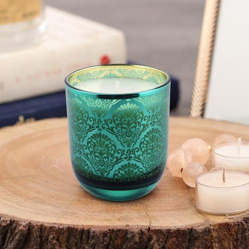 Green & Gold Mixed Wax Jar