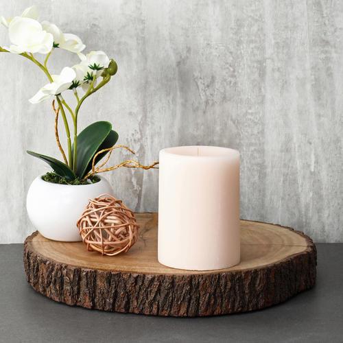 Large Sand Vanilla Pillar Candle