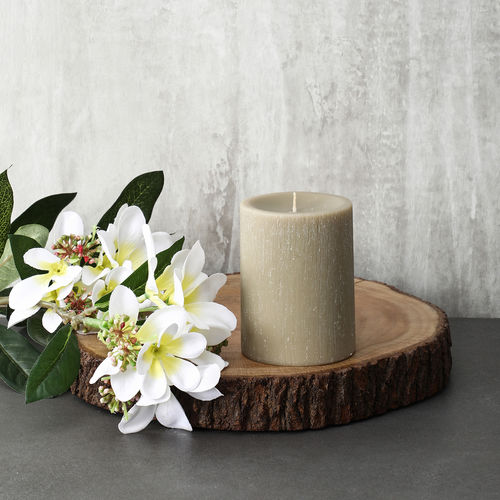 Large Khaki Autumn Fruit Pillar Candle