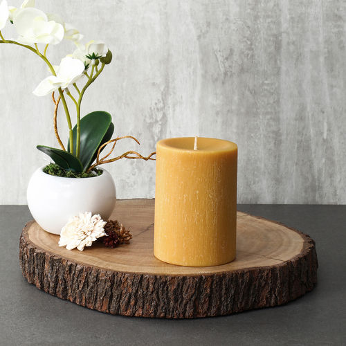 Large Mustard Lemon Eucalyptus Pillar Candle
