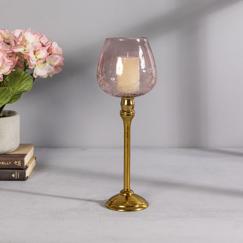 Large Pink Glass Golden Mia Votive Holder