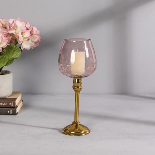 Small Pink Glass Golden Mia Votive Holder