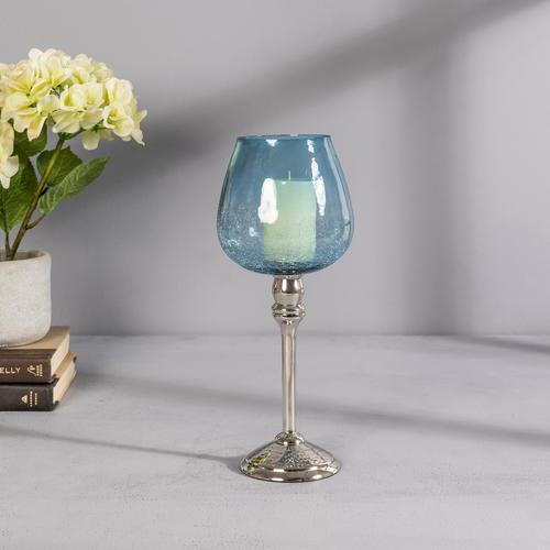 Small Blue Glass Silver Mia Votive Holder