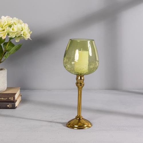 Small Green Glass Golden Mia Votive Holder