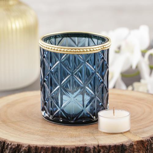 Set of 4 Blue Glass Votive