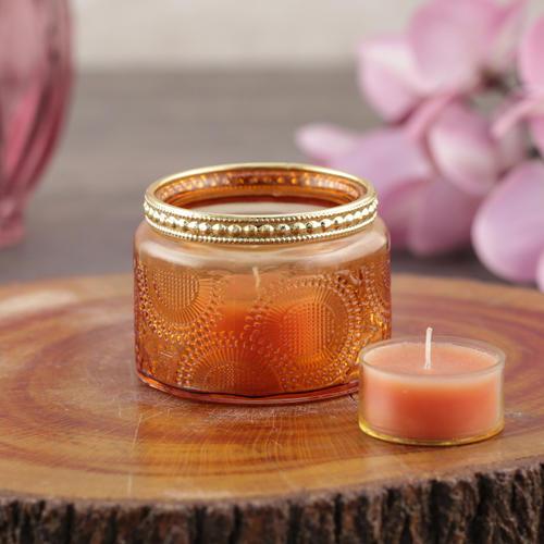 Set of 4 Amber T-Light Candle Holder