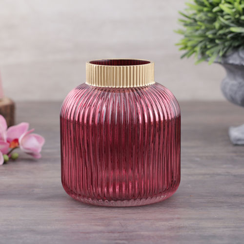 Rose Pink and Gold Vase