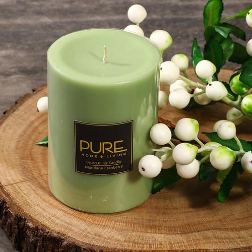 Large Green Mandarin Cranberry Pillar Candle