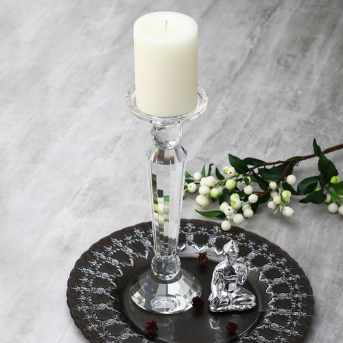 Large Art Deco Crystal Taper Candle Holder