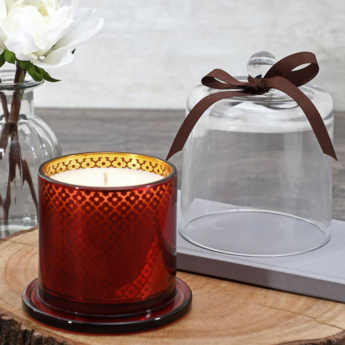 Red Champagne Glass Jar Candle With Dome