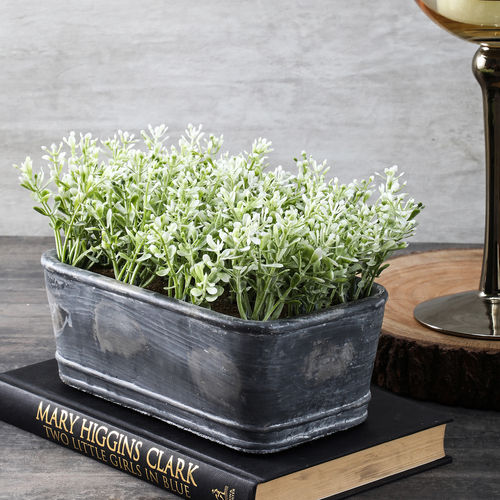 Potted White Green Faux Blossom Plant