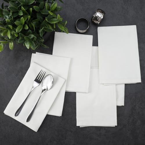 Set Of 6 Cream Cotton Table Napkins