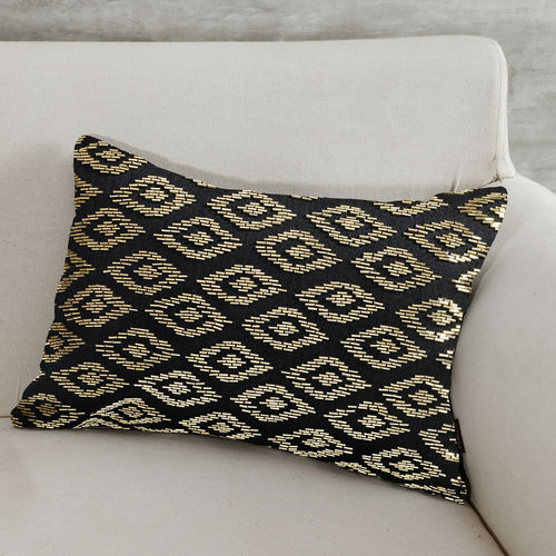 Beaded Diamond Pattern Black Cushion Cover