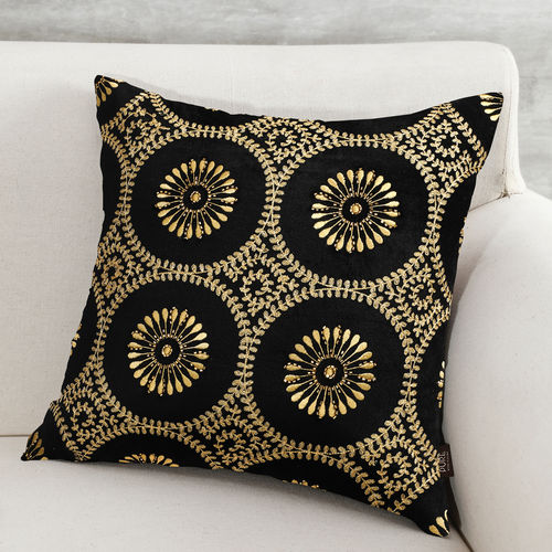 Black Cushion Cover With Gold Floral Embroidery