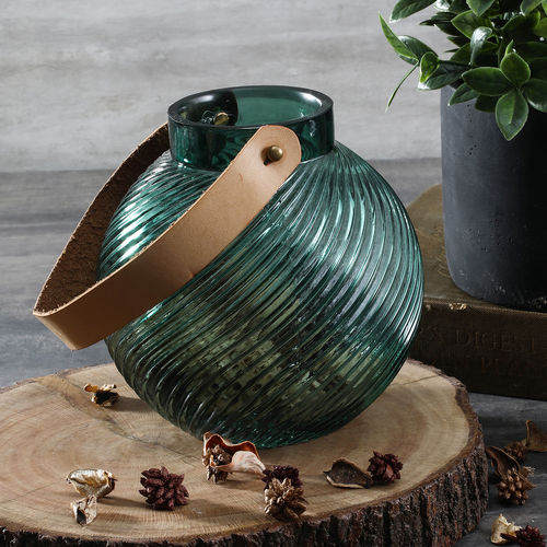 Green Ribbed Glass Round Lantern