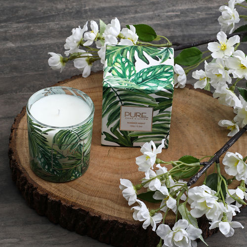 Green Silver Moon Glass Jar Candle