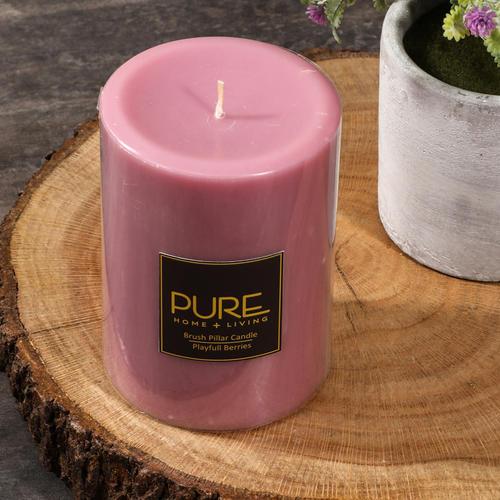Tall Pink Playful Berries Pillar Candle