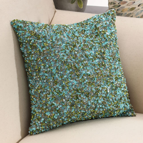 Blue And Green Beaded Cushion Cover