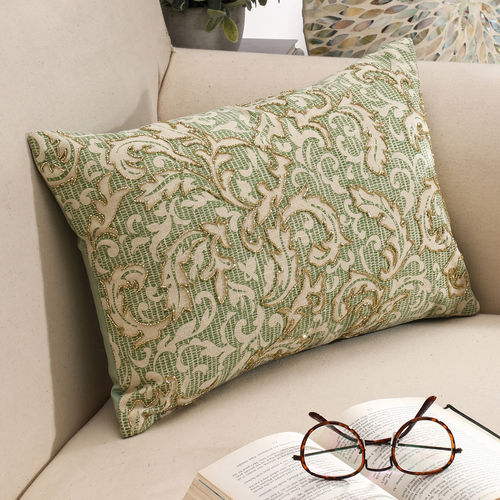 Beaded Green Floral Embellished Cushion Cover