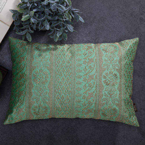 Green Golden Embroidered Cushion Cover