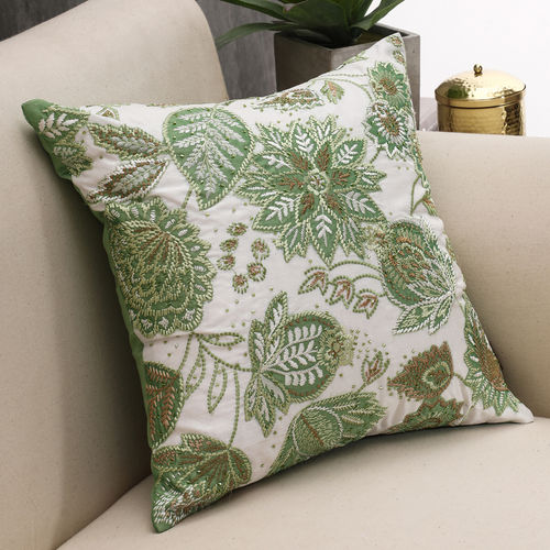 Embellished Floral Green Cushion Cover