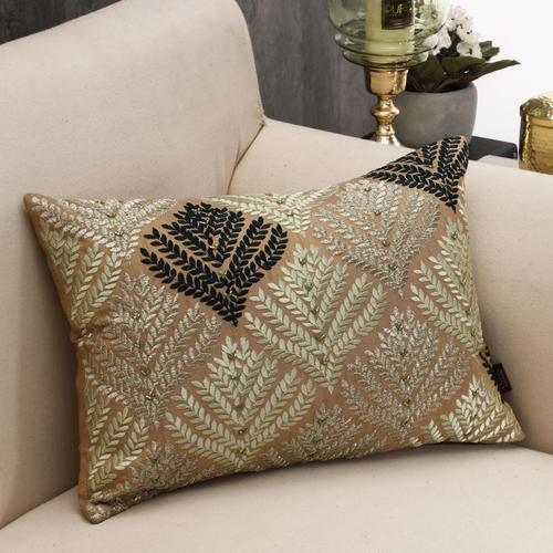 Green Phulkari Cushion Cover
