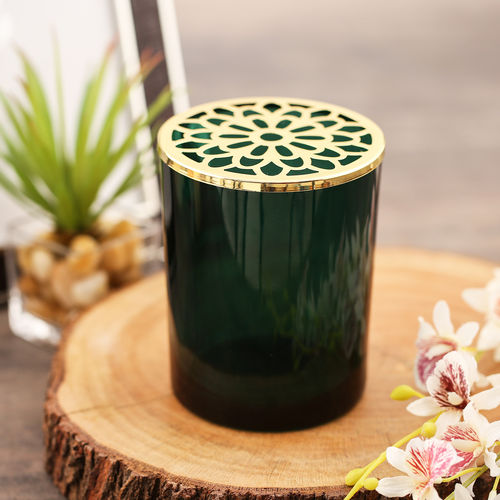 Green Glass Votive With Decorative Lid
